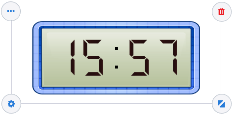 Toggle between 12- and 24- hour time settings with the customizable Gynzy digital clock.