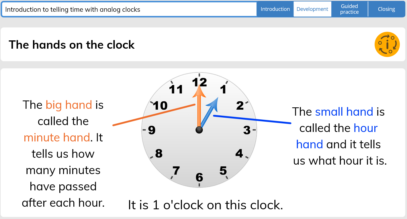 This Gynzy lesson covers the basics of telling time and includes practice problems.